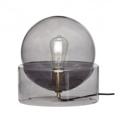 hubsch lampe de table boule en verre fume socle verre fume 990908