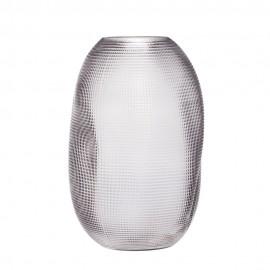 Vase verre froissé texturé fumé gris Hübsch