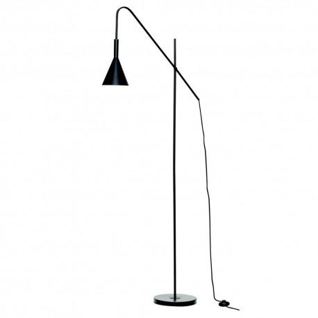 hubsch lampadaire design epure metal fin noir 990928