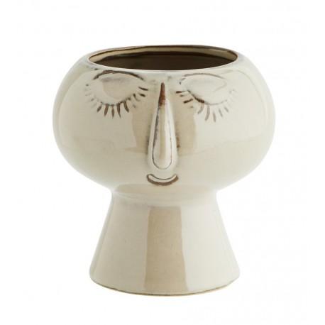 madam stoltz petit cache pot visage gres beige HY15565-12