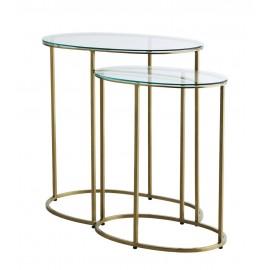 madam stoltz set de 2 tables d appoint gigognes ovales verre laiton L011
