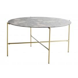 madam stoltz table basse ronde verre oxyde laiton L024