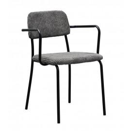 Chaise avec accoudoirs velours côtelé gris métal House Doctor Classico