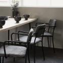 house doctor classico chaise avec accoudoirs velours cotele gris metal noir bf0511