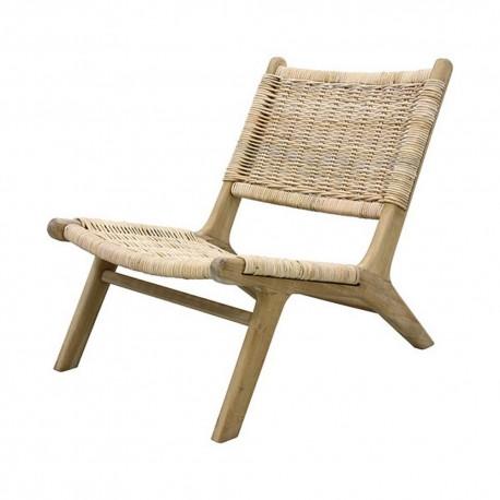 hk living chaise fauteuil bas lounge osier naturel MZM4620