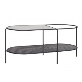 hubsch table basse ovale design rangement metal perfore verre noir 020915