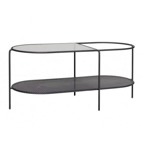 Table basse ovale design rangement métal verre Hübsch