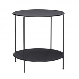hubsch table basse d appoint design ronde 2 niveaux metal perfore noir