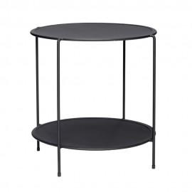 Table d'appoint design ronde 2 niveaux métal perforé Hübsch