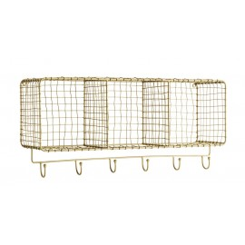 madam stoltz etagere murale 3 compartiments fil de fer dore 6 pateres 23860AB