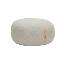 grand pouf rond gris clair laine hubsch 709005