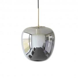 Suspension ovale en verre fumé gris laiton Hübsch