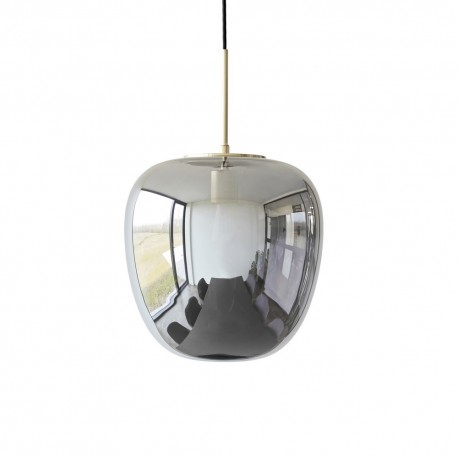 hubsch suspension ovale en verre fume gris metal laiton 990722