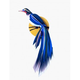 decoration murale oiseau exotique bleu studio roof paradise bird flores ttm82