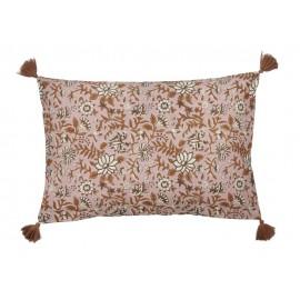 coussin rectangulaire fleuri rose marron bungallow denmark komati