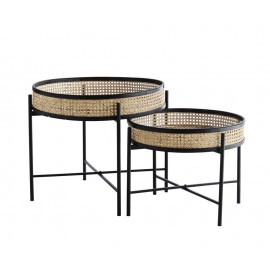 madam stoltz set de 2 tables basses rondes plateau amovible rotin