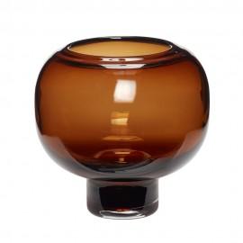 Vase rond chic verre Hübsch marron
