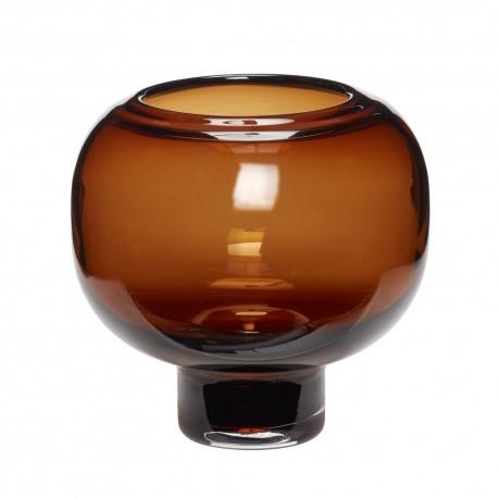 hubsch vase rond chic verre marron ambre 660901