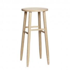 hubsch tabouret de bar rond style scandinave bois clair 889030