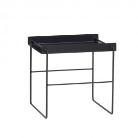 hubsch table basse d appoint design carree metal noir 890511