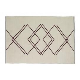 tapis recycle design blanc motif geometrique rouge hubsch 120 x 180 cm
