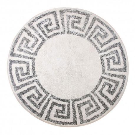 hk living tapis rond antiderapant 120 cm motif grec ecru gris ttk3040