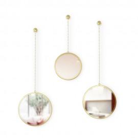 set de 3 miroirs ronds suspendus sur chaine laiton umbra dima 1013877-104