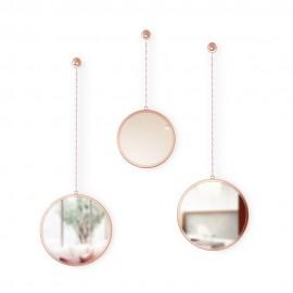 3 miroirs ronds suspendus sur chaine cuivre umbra dima 1013877-880