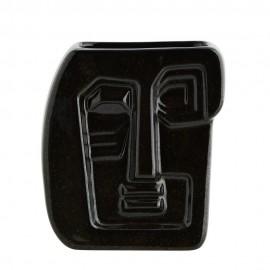 madam stoltz vase sculpture visage gres noir HY15710-16