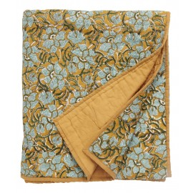boutis pique couvre lit jaune moutarde fleuri nordal 140 x 210 cm