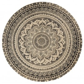 tapis rond jute imprime rosace nordal 150 cm 8569