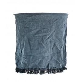 Abat-jour pour suspension lin bleu franges Madam Stoltz