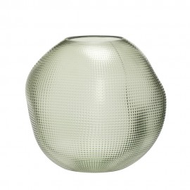 Vase rond verre texturé déformé Hübsch vert
