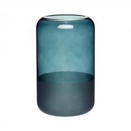 vase design droit bleu canard verre depoli hubsch 660807