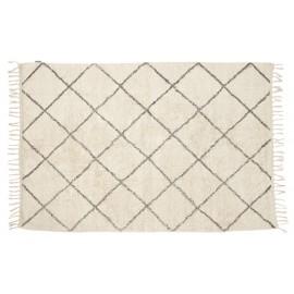Tapis motif géométrique coton écru gris Hübsch