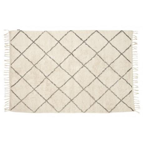 Tapis geometrique blanc gris hubsch 120 x 180 cm