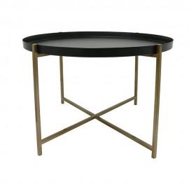 hk living table basse ronde plateau amovible noir laiton mta2810