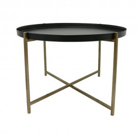 Table basse ronde plateau amovible noir laiton HK Living