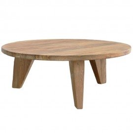hk living table basse ronde rustique teak recycle hap6090