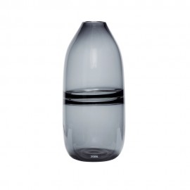 hubsch grand vase design verre gris fume 950501