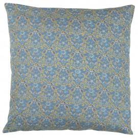 ib laursen housse de coussin fleurie coton bleu 50 x 50 cm