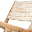 hk living chaise fauteuil bas lounge bois teck abaca MZM4794