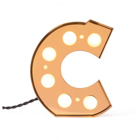 seletti caractere lampe applique lettre c lumineuse led metal dore