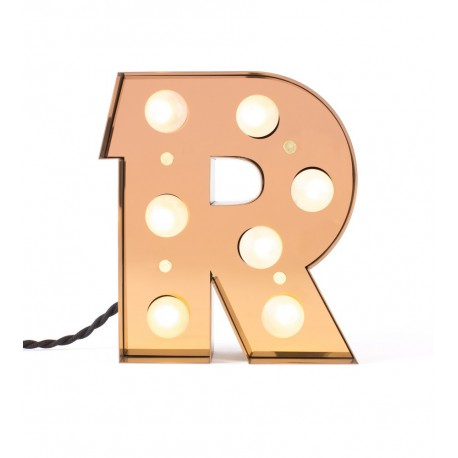lampe de table applique lettre lumineuse r led dore seletti caractere