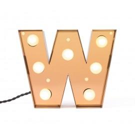lettre lumieuse w applque metal dore seletti caractere