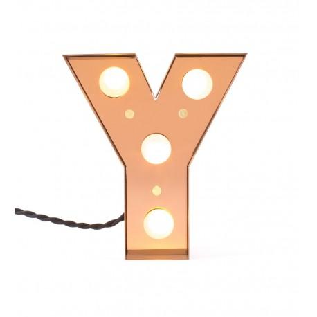 lampe lettre alphabet lumineuse y metal laiton led seletti caractere