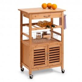 meuble d appoint cuisine desserte a roulettes bois bambou zeller 13770