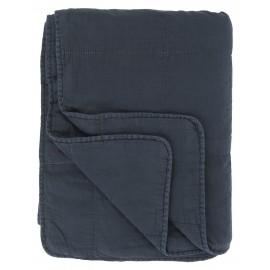 plaid couvre lit boutis coton matelasse bleu marine ib laursen 6208-56