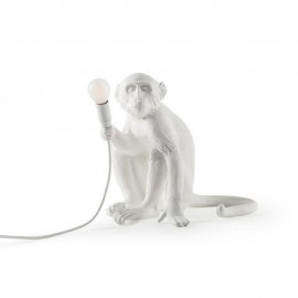 seletti monkey lampe de table singe assis blanc 14882