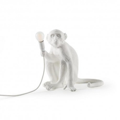 seletti monkey lampe de table singe assis blanc 14882